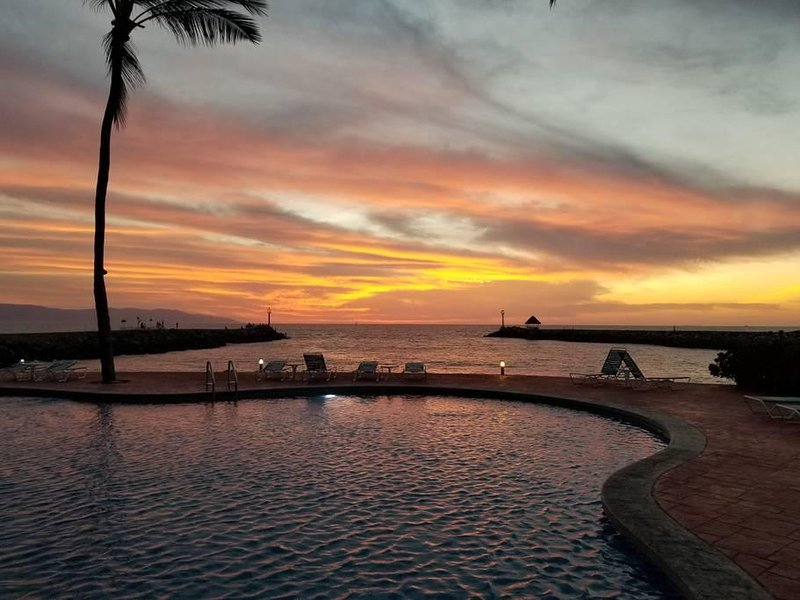 poolside sunsets by night