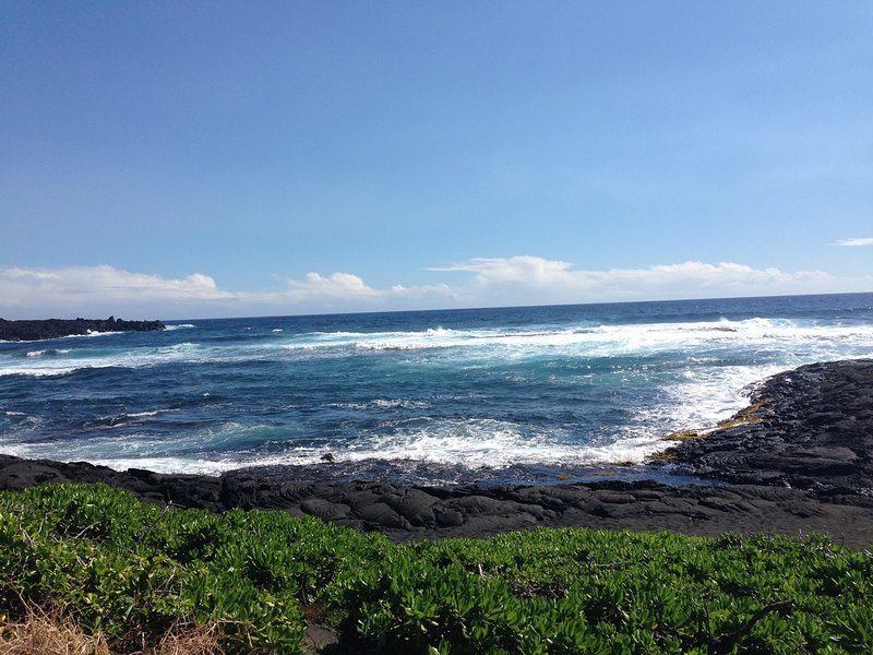 View of Punalu'u black sand beach (25 miles from the studio).