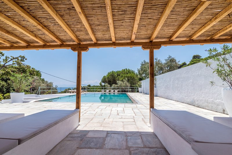 main pool entrance with double sitting areas