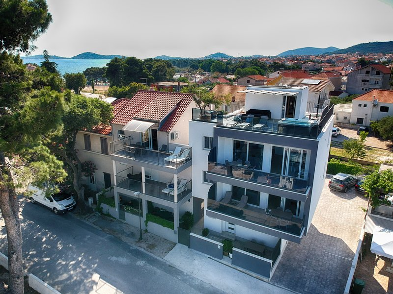 Boutique sea view apartment in seaside villa with Pool, Gym, Parking, top location in Vodice