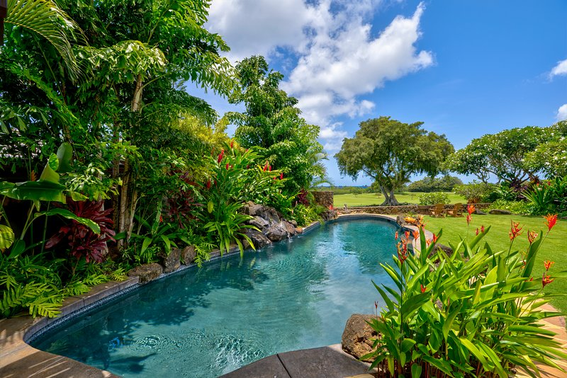 New Oceanview Luxury Home: A/C, Heated Pool on Greenbelt in the Heart of Poipu, holiday rental in Poipu