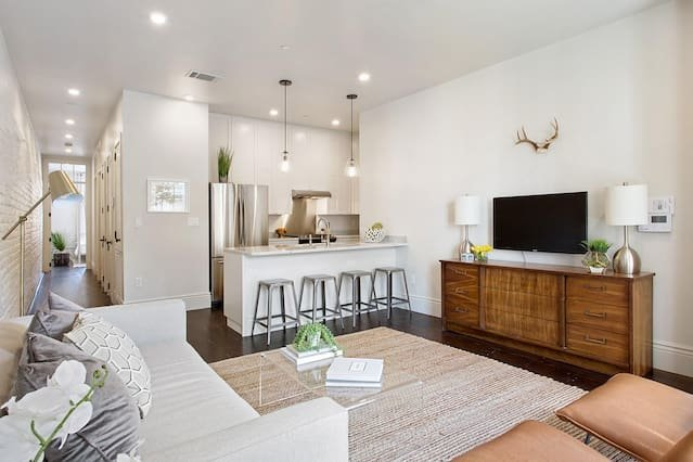 Relax with friends in this spacious living room