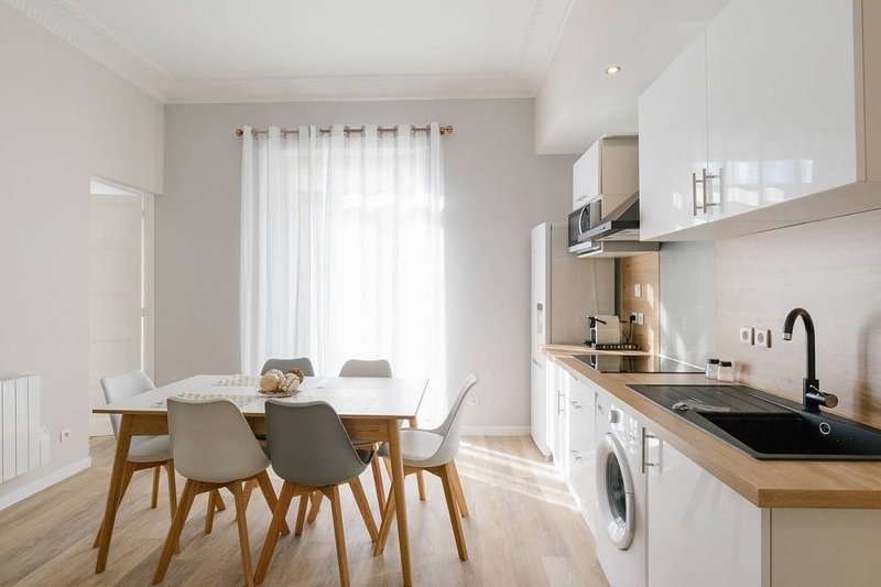 a kitchen open to the living room!