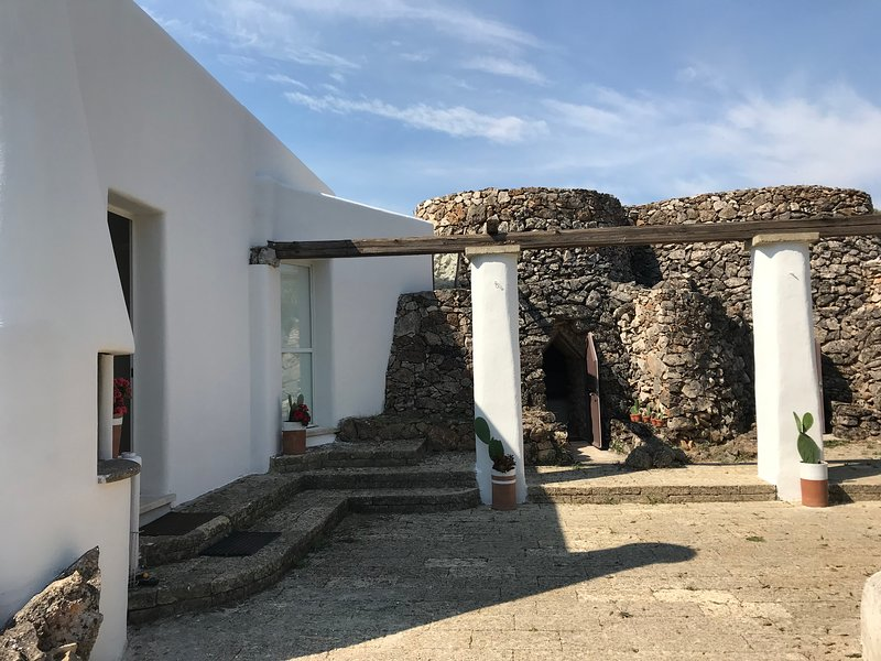 Two pajares on the right and a new structure (white) on the left