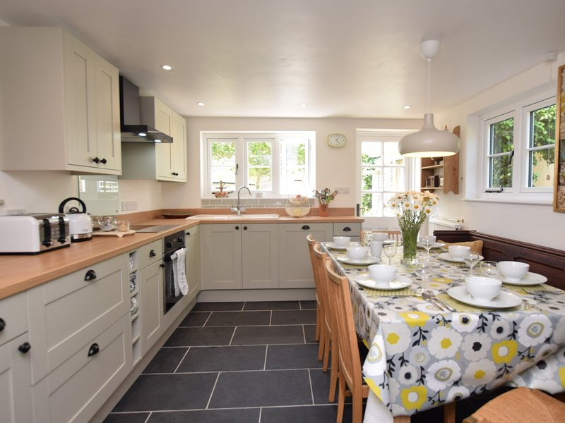 Step into the stylish kitchen with space to dine
