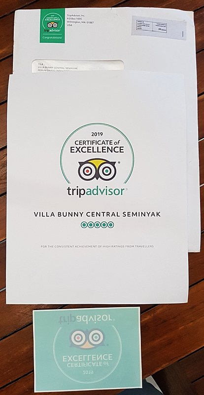 just received a certificate from tripadvisor for our commitment to serve guests at our villa