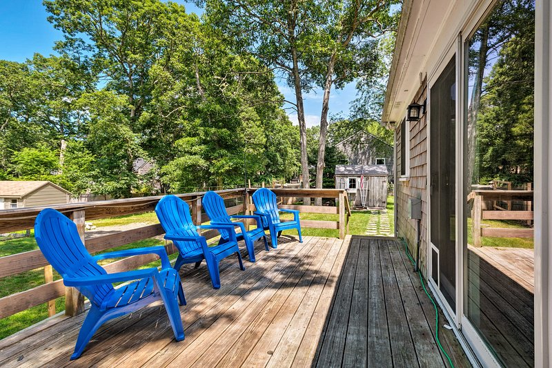 Perfect your tan on the sunny deck of this West Yarmouth vacation rental!