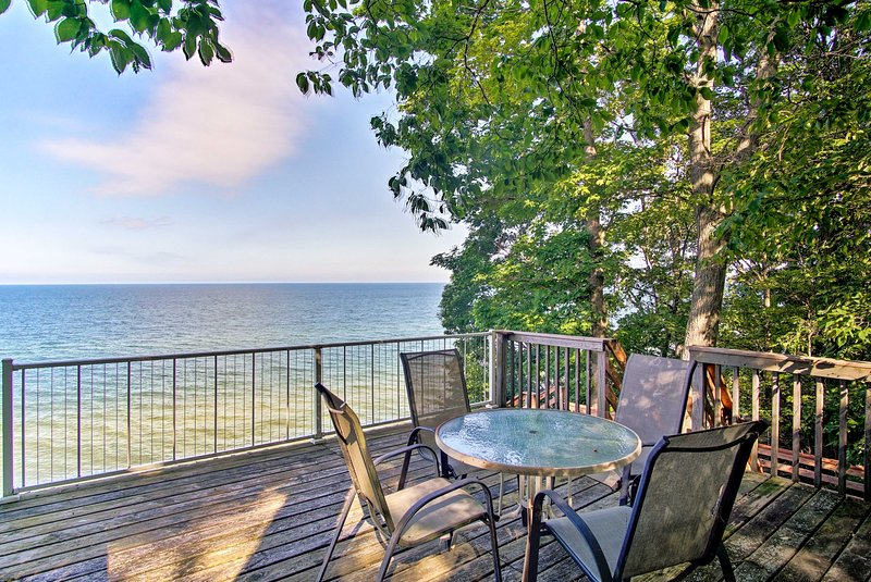Take a stroll to the private deck to take in the breathtaking views of Lake MI!