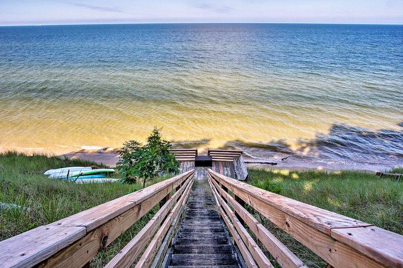 Enjoy walking along the beach or taking a swim in Lake Michigan!