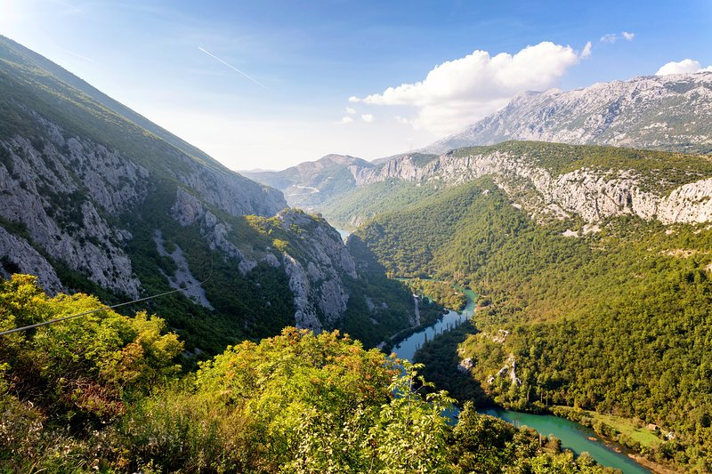 Cetina river surrounded by mountains and unspoiled nature