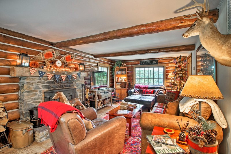 Warm your toes while watching a show on the TV in the living area!