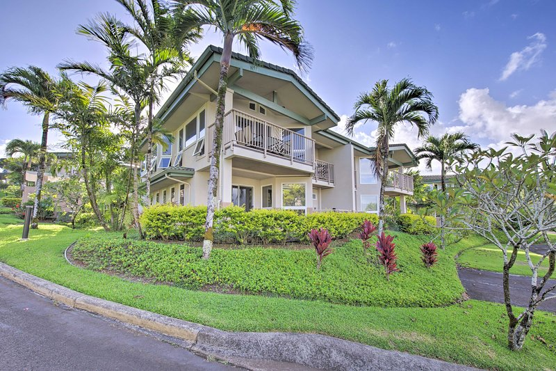 Palm trees and lush landscape welcome you to Kauai vacation rental!
