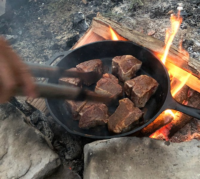 Bring Your Cast Iron Skillet and Cook Old-Style on the Fire Pit - Delicious!