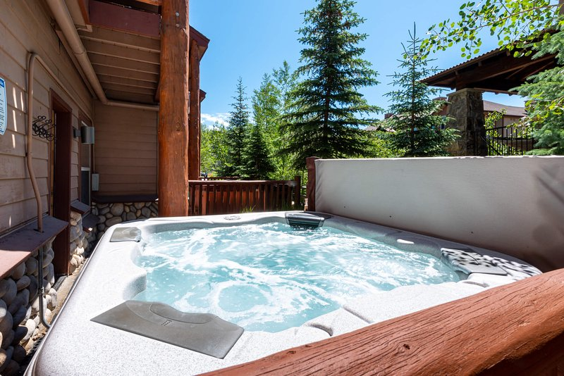 Let your worries bubble away in the private hot tub on lower level