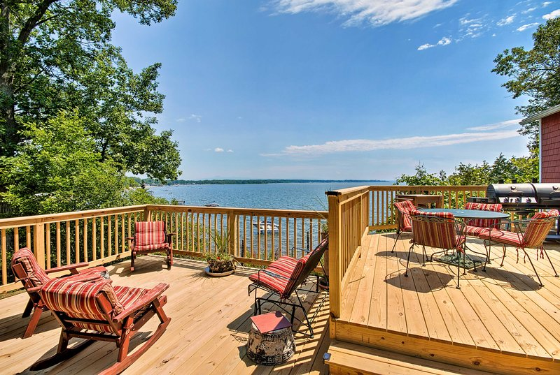 Spend leisurely afternoons on the new double-decker deck with lake views.