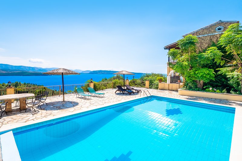 Villa Varvara - private pool, above Kerasia Beach, holiday rental in Agios Stefanos
