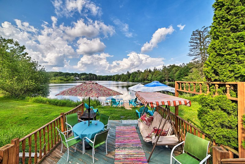 This lakefront Poconos home is a summer paradise!