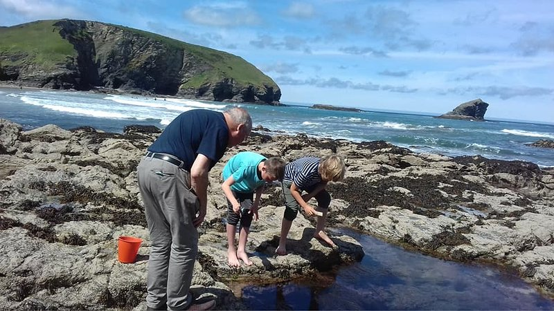 Rock pooling at Portreath beach 5 minutes away.