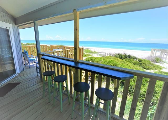 Snack bar seating w/ view to beach