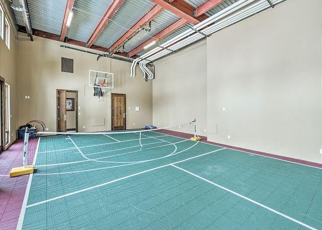 Pickle Ball Setup, in addition to Basketballs & Yoga Mats