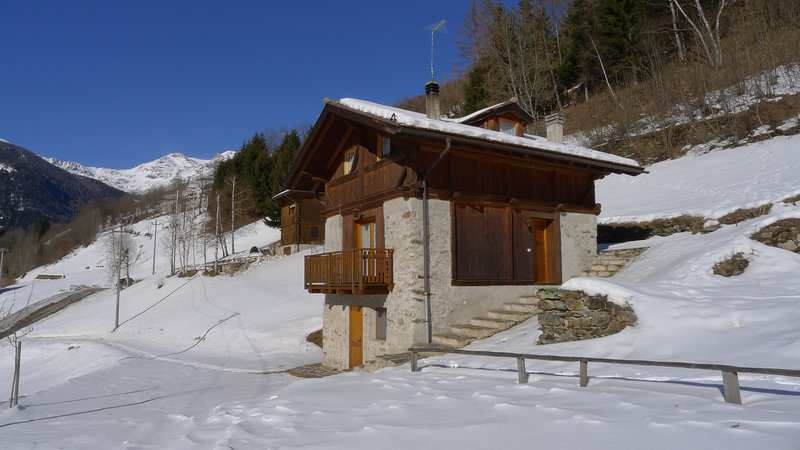 Chalet exterior in winter