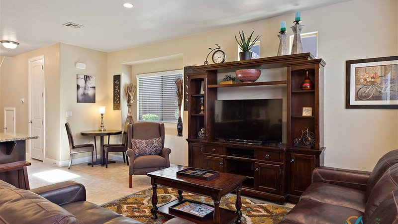 Family room with large flat screen tv