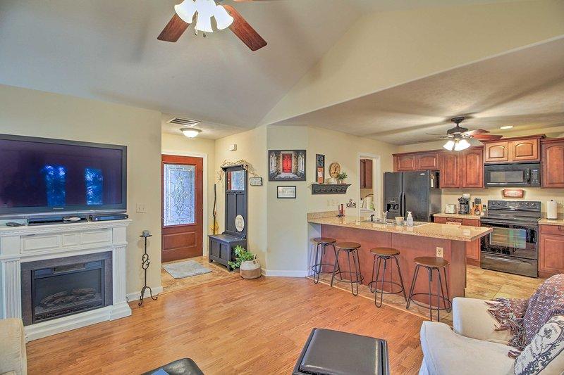 An open floor plan welcomes you to this 3-bedroom, 2-bathroom vacation rental.