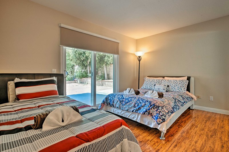 Kids can curl up in this bedroom, which features a full bed and twin bed.