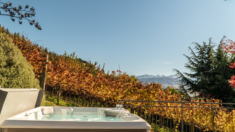 Release Wanaka - Morrows Mead, views of the Southern Alps from the hot tub at this luxury home.