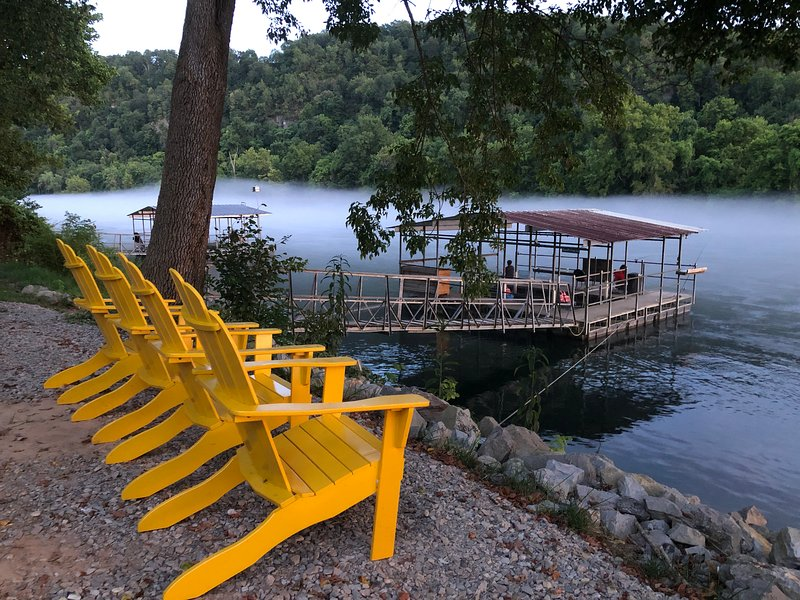 relax on the edge of the white river and enjoy the evening mist rolling in.