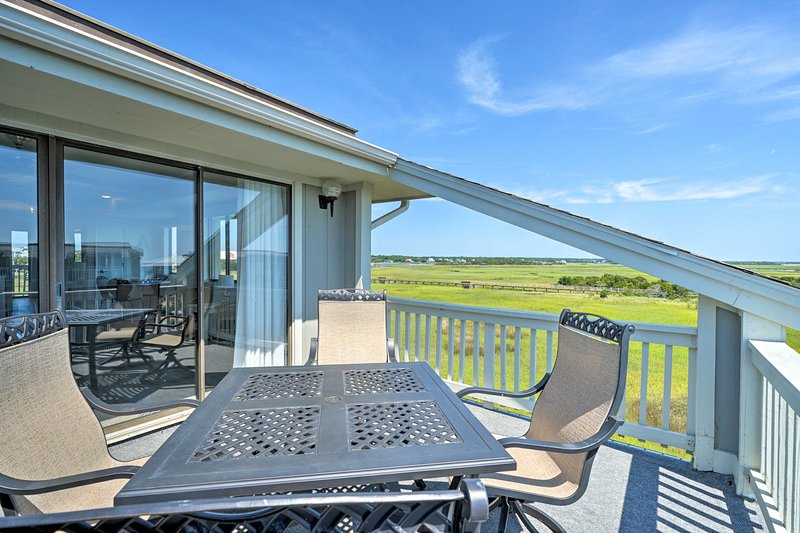 Find all the comforts of home, plus vacation rental bonuses like this balcony!