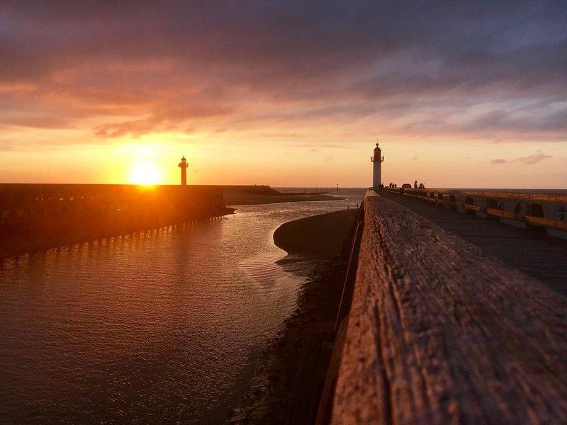 la puesta de sol en Trouville