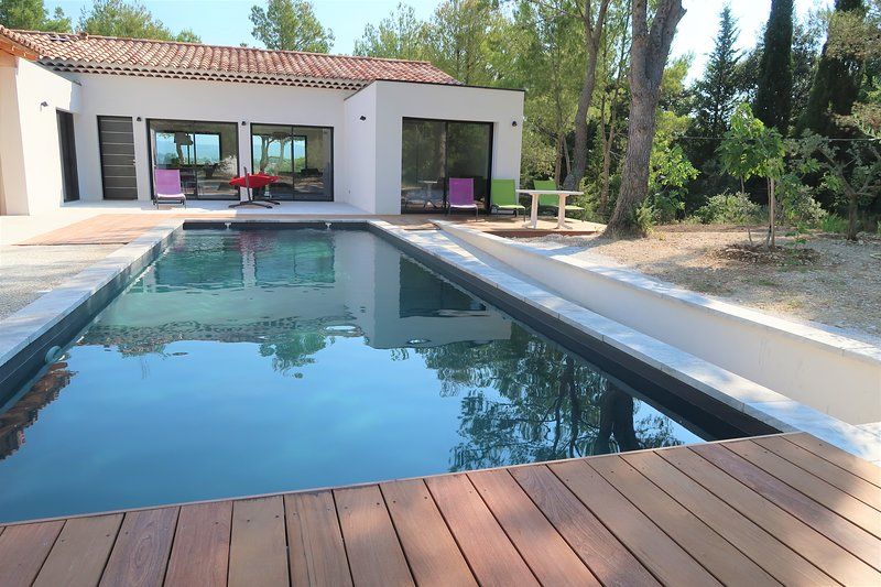 Fabulous Mont Ventoux view, Mazanel design house, pool, Air conditioning, holiday rental in Saint-Pierre de Vassols