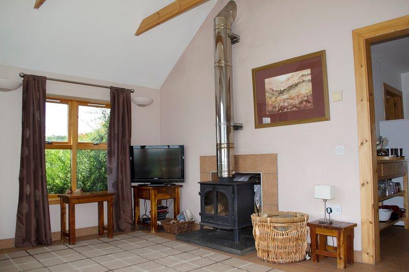 Alternatief uitzicht op de woonkamer met houtkachel