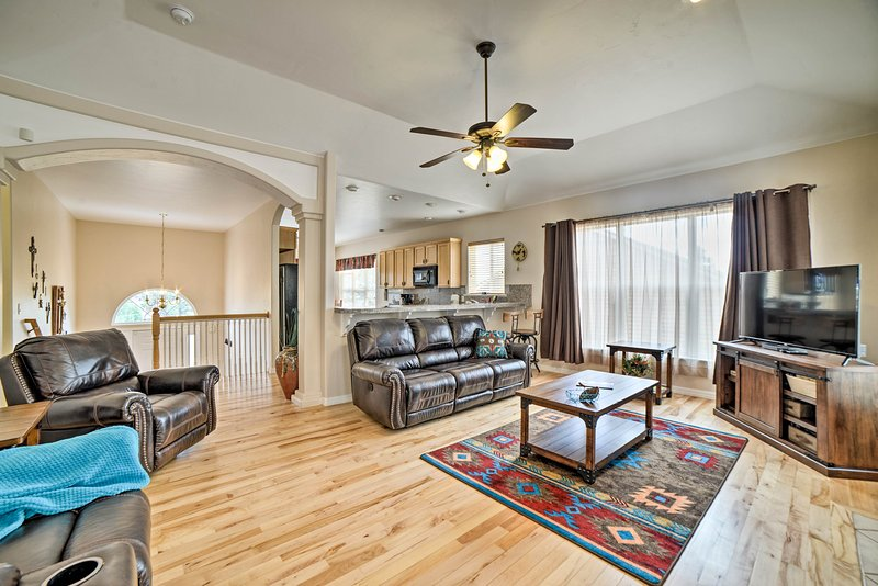 Curl up inside this 4-bedroom, 3-bath home after a day at the hot springs!