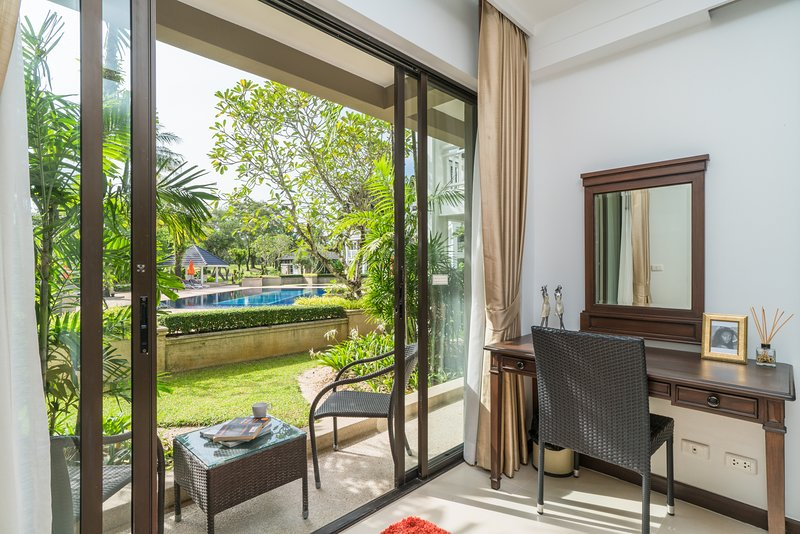 Beautiful room located ground floor and just 5 steps to the pool, new renovated apartment service.