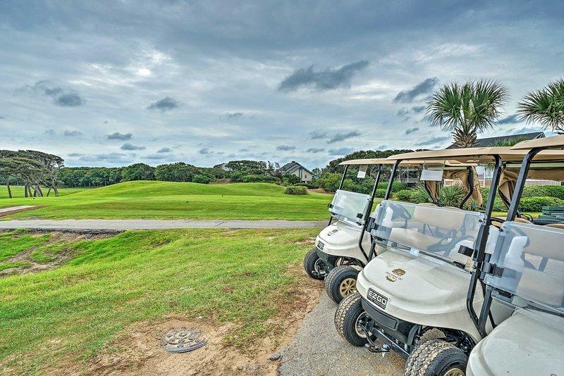 Grab a golf cart and enjoy a round of golf under the Carolina Sunshine!