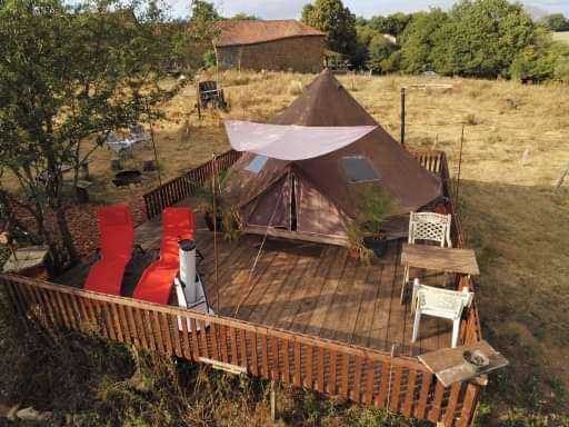 Ariel view of your tent and it's secluded location in the garden.