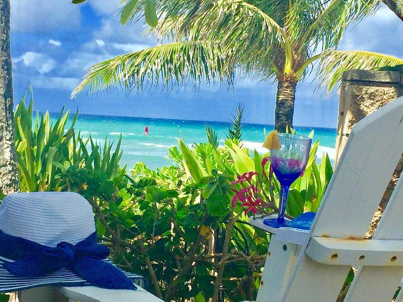 Votre jardin .. votre vue lorsque vous séjournez au studio de la plage sur Sunset Beach à Hawaii. relaxant!