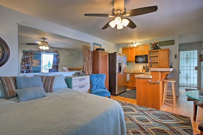 Unwind in the queen-sized bed inside this 1-bath studio.