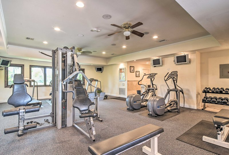 Get a quick workout in at the fitness center.