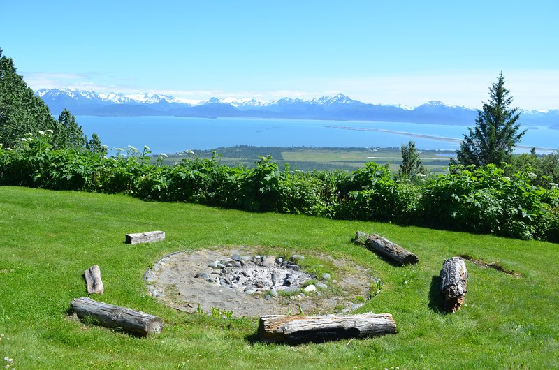 Fire Pit....Smore's Central! Homer Spit to the Right Grewingk Glacier  Kachemak Bay