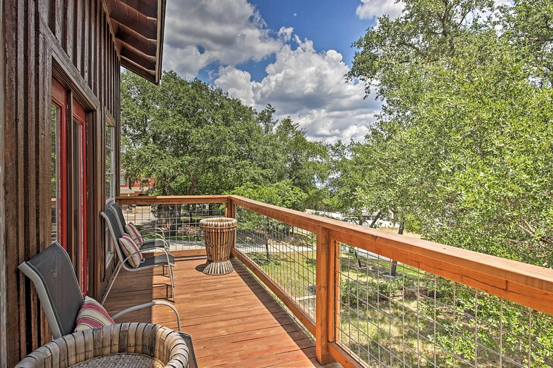 Take in the Canyon Lake views from this vacation rental's decks.
