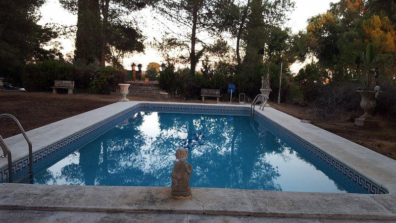 Bungalow Navasola: 'Jardines, piscina, chimenea... recuerdos de por vida', holiday rental in Los Palacios y Villafranca