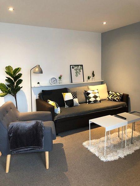 Espace de vie moderne avec canapé-lit double confortable pour les invités supplémentaires