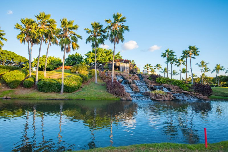 An Image of the Waterfall at the Entrance to Ko Olina.