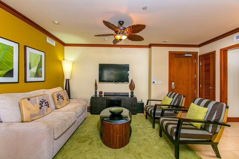 Designer Furnished Living Area in our Vacation Rental in Oahu