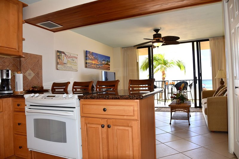 A view of the lanai from the kitchen