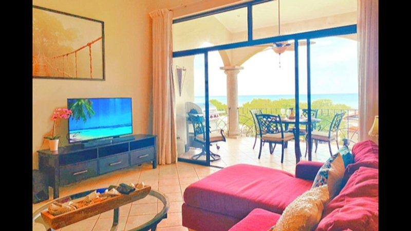 Spacious living area with ocean view