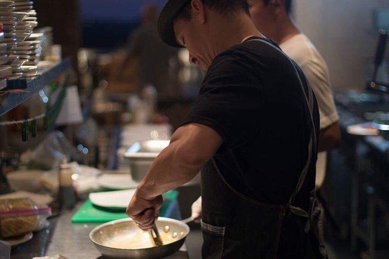 Chef Frankie hard at work at Gracia Restaurant
